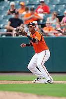 Bowie Baysox first baseman Garabez Rosa (2) waits for a throw during the first game of a doubleheader against the Akron RubberDucks on June 5, 2016 at Prince George's Stadium in Bowie, Maryland.  Bowie defeated Akron 6-0.  (Mike Janes/Four Seam Images)