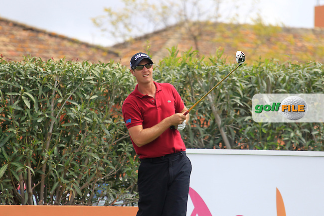 Nicolas Colsaerts (BEL) tees off the 10th tee during Saturday's rain delayed Round 3 of the Open de Espana at Real Club de Golf de Sevilla, Seville, Spain, 5th May 2012 (Photo Eoin Clarke/www.golffile.ie)