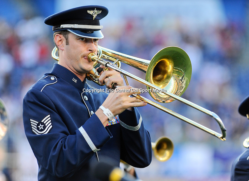 MAY 19 2012  A member of the United States Air Force Band of Liberty plays trombone during opening ceremonies at Saturday's New England Revolution versus Houston Dynamo game...