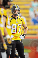 July 12, 2008; Hamilton, ON, CAN; Hamilton Tiger-Cats wide receiver Chris Bauman (87) prior to the CFL football game against the Saskatchewan Roughriders at Ivor Wynne Stadium. The Roughriders defeated the Tiger-Cats 33-28. Mandatory Credit: Ron Scheffler.