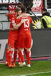 10.04.2019, Schauinsland-Reisen-Arena, Duisburg, GER, 2. FBL, MSV Duisburg vs. 1. FC Koeln,<br />  <br /> DFL regulations prohibit any use of photographs as image sequences and/or quasi-video<br /> <br /> im Bild / picture shows: <br /> Torjubel / Jubel / Jubellauf,    Louis Schaub (FC Koeln #13),    mit Florian Kainz (FC Koeln #30), <br /> <br /> Foto © nordphoto / Meuter