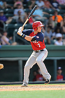 Shortstop David Masters (7) of the Hagerstown Suns, in a game against the Greenville Drive on May 12, 2015, at Fluor Field at the West End in Greenville, South Carolina. Greenville won, 4-0. (Tom Priddy/Four Seam Images)