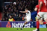Owen Farrell of England kicks for the posts. Natwest 6 Nations match between England and Wales on February 10, 2018 at Twickenham Stadium in London, England. Photo by: Patrick Khachfe / Onside Images
