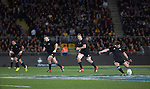Dan Carter kicks. All Blacks beat Australia 22-0. Eden Park, Auckland. 25 August 2012. Photo: Marc Weakley