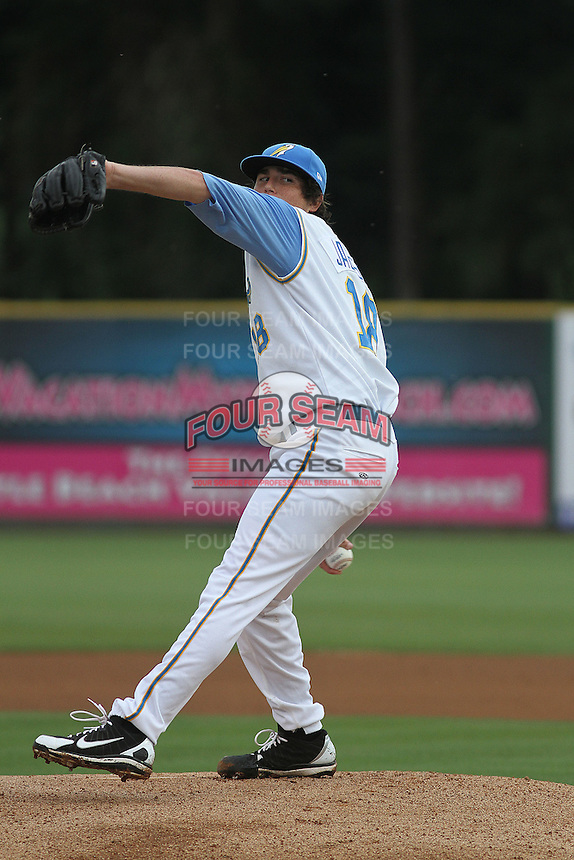 Myrtle Beach Pelicans pitcher Luke Jackson #18 on the mound during a game against the Winston-Salem Dash at Ticketreturn.com Field at Pelicans Park on July 11, 2012 in Myrtle Beach, South Carolina. Myrtle Beach defeated Winston-Salem by the score of 7-1. (Robert Gurganus/Four Seam Images)