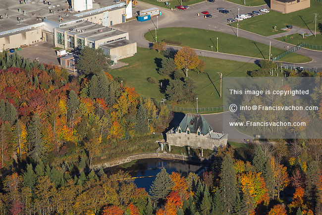 L'usine de traitement des eaux (water treatment plant) and the Chateau D'Eau (water pump) is pictured in the Quebec City suburb of Loretteville Wednesday October 1, 2014.