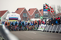 Men's junior race start. <br /> <br /> UCI 2019 Cyclocross World Championships<br /> Bogense / Denmark<br /> <br /> &copy;kramon