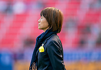 HARRISON, NJ - MARCH 08: Asako Takakura of Japan watches her team during a game between England and Japan at Red Bull Arena on March 08, 2020 in Harrison, New Jersey.