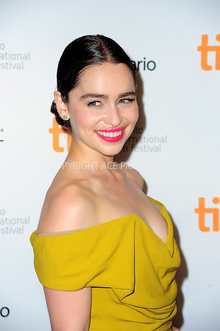 WWW.ACEPIXS.COM<br /> <br /> <br /> September 8, 2013, Toronto, Canada.<br /> <br /> Emilia Clarke arriving at the 'Dom Hemingway' Premiere at the 2013 Toronto International Film Festival at Princess of Wales Theatre in Toronto, Canada on September 8, 2013.<br /> <br /> <br /> <br /> <br /> By Line:  William Bernard/ACE Pictures<br /> <br /> ACE Pictures, Inc<br /> Tel: 646 769 0430<br /> Email: info@acepixs.com