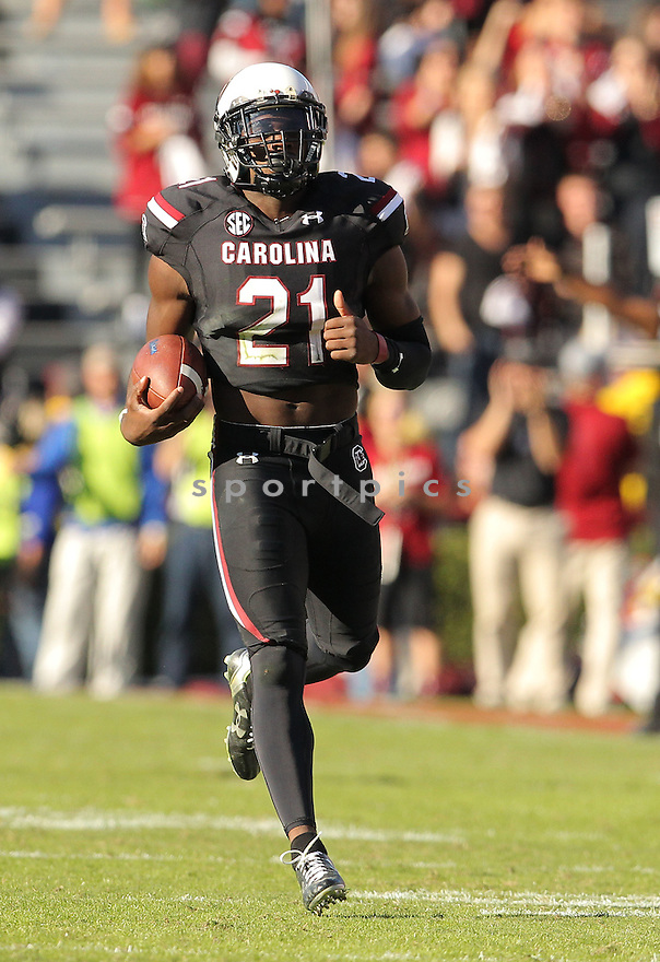 South Carolina Gamecocks Isaiah Johnson (21) during a game against the Florida Gators on November 14, 2015 at Williams-Bryce Stadium at Columbia, SC. Florida beat South Carolina 24-14.