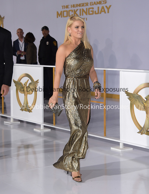 Jessica Simpson Johnson at The  Los Angeles Premiere of The Hunger Games: Mockingjay - Part 1 held at  Nokia Theatre L.A. Live in Los Angeles, California on November 17,2014                                                                               © 2014 Hollywood Press Agency