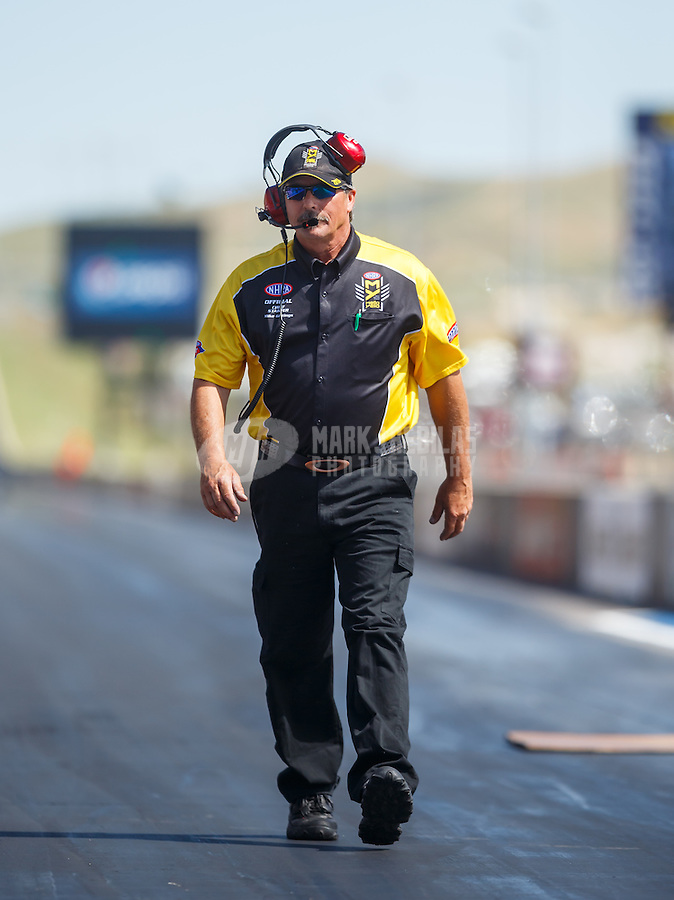 Jul 24, 2016; Morrison, CO, USA; NHRA official starter Mike Gittings during during the Mile High Nationals at Bandimere Speedway. Mandatory Credit: Mark J. Rebilas-USA TODAY Sports