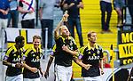 Solna 2014-07-12 Fotboll Allsvenskan AIK - Kalmar FF :  <br /> AIK:s Alexander Milosevic har gjort 2-0 i den andra halvleken och g&ouml;r tecken n&auml;r han jublar <br /> (Foto: Kenta J&ouml;nsson) Nyckelord:  AIK Gnaget Friends Arena Kalmar KFF jubel gl&auml;dje lycka glad happy