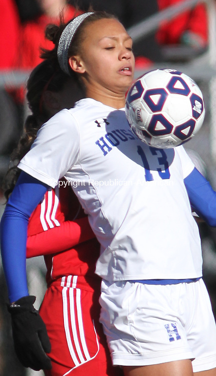 WATERBURY, CT-11 November 111514MK12 (ACTIONMAN) Housatonic's Lauren Segalla loooks to control the ball during Class S soccer finals against Portland at Municipal Stadium on Saturday afternoon.  Portland won in overtime 2 -1. Michael Kabelka / Republican-American