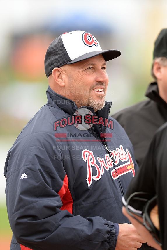 Atlanta Braves manager Fredi Gonzalez (33) before a spring training game against the Detroit Tigers on February 27, 2014 at Joker Marchant Stadium in Lakeland, Florida.  Detroit defeated Atlanta 5-2.  (Mike Janes/Four Seam Images)