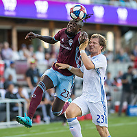 SAN JOSÉ CA - JULY 27: Kei Kamara #23, Florian Jungwirth #23 during a Major League Soccer (MLS) match between the San Jose Earthquakes and the Colorado Rapids on July 27, 2019 at Avaya Stadium in San José, California.