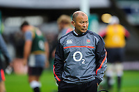 England Rugby Head Coach Eddie Jones looks on during the pre-match warm-up. Old Mutual Wealth Series International match between England and South Africa on November 12, 2016 at Twickenham Stadium in London, England. Photo by: Patrick Khachfe / Onside Images