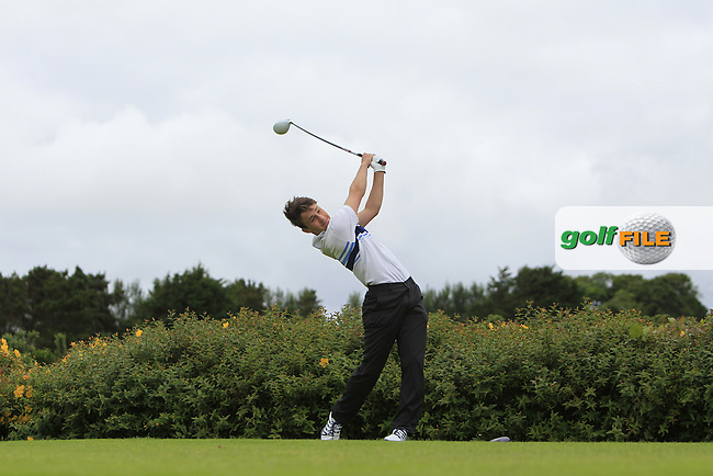 Patrick Somers (Grange) on the 18th tee during R1 of the 2016 Connacht U18 Boys Open, played at Galway Golf Club, Galway, Galway, Ireland. 05/07/2016. <br /> Picture: Thos Caffrey | Golffile<br /> <br /> All photos usage must carry mandatory copyright credit   (&copy; Golffile | Thos Caffrey)