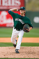 Relief pitcher Daniel Bard (25) of the Greenville Drive in action versus the Kannapolis Intimidators at Fluor Field in Greenville, SC, Sunday, April 6, 2008.