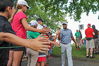 Harold Varner III (USA) high fives fans enroute to 10th tee during Saturday's round 3 of the World Golf Championships - Bridgestone Invitational, at the Firestone Country Club, Akron, Ohio. 8/5/2017.<br /> Picture: Golffile | Ken Murray<br /> <br /> <br /> All photo usage must carry mandatory copyright credit (&copy; Golffile | Ken Murray)