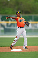 Baltimore Orioles Sharlon Schoop (41) during a minor league Spring Training intrasquad game on April 2, 2016 at Buck O'Neil Complex in Sarasota, Florida.  (Mike Janes/Four Seam Images)