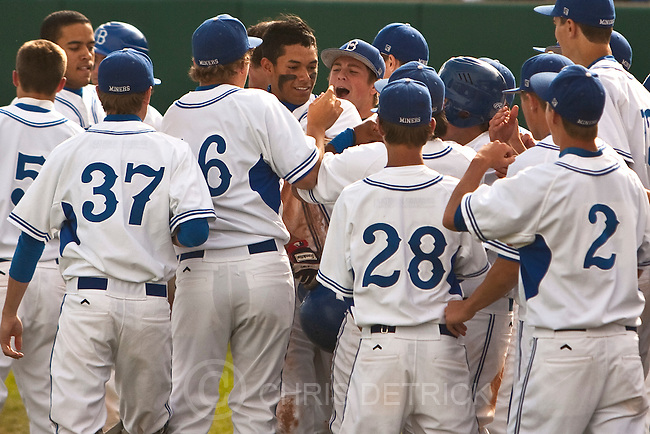 Photo by Chris Detrick | The Salt Lake Tribune .Bingham's Connor Williams (30) celebrates with his teammates after hitting a three-run home run during the game 5A at Brent Brown Ballpark Thursday May 26, 2011. Bingham won the game 7-0.