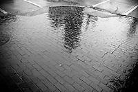 Church Reflection in the wet brick sidewalk in Birmingham, Alabama
