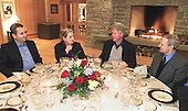 Shepherdstown, West Virginia - January 9, 2000 -- United States President Bill Clinton and U.S. Secretary  of State Madeleine Albright host a dinner with Prime Minister Ehud Barak of Israel and Foreign Minister Farouk al-Shara of Syria in Shepherdstown, West Virginia on January 9, 2000. From left to right:  Barak, Albright, Clinton, and al-Shara..Mandatory Credit: White House via CNP