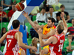 """Rudy Fernandez of Spain (C) in action during European basketball championship """"Eurobasket 2013""""  basketball game for 3rd place between Spain and Croatia in Stozice Arena in Ljubljana, Slovenia, on September 22. 2013. (credit: Pedja Milosavljevic  / thepedja@gmail.com / +381641260959)"""