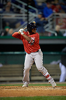 Lowell Spinners Roldani Baldwin (36) at bat during a NY-Penn League Semifinal Playoff game against the Batavia Muckdogs on September 4, 2019 at Dwyer Stadium in Batavia, New York.  Batavia defeated Lowell 4-1.  (Mike Janes/Four Seam Images)