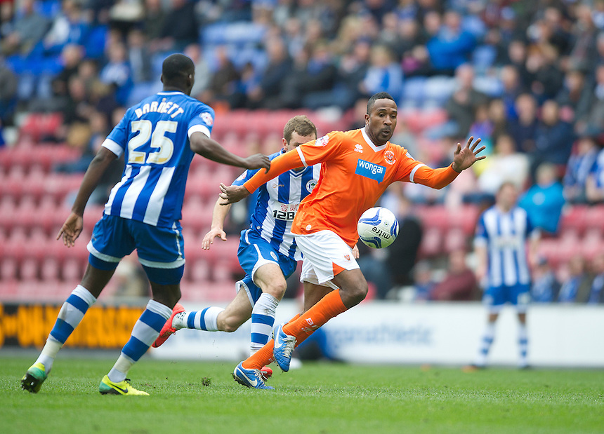 Blackpool's Ricardo Fuller<br /> <br /> Photo by Stephen White/CameraSport<br /> <br /> Football - The Football League Sky Bet Championship - Wigan Athletic v Blackpool - Saturday 26th April 2014 - DW stadium - Wigan<br /> <br /> &copy; CameraSport - 43 Linden Ave. Countesthorpe. Leicester. England. LE8 5PG - Tel: +44 (0) 116 277 4147 - admin@camerasport.com - www.camerasport.com
