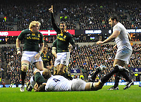 Rugby Union. Twickenham, England.Willem Alberts (The Sharks) of South Africa fortuitous try during the QBE international match between England and South Africa at Twickenham Stadium on November 24, 2012 in Twickenham, England.