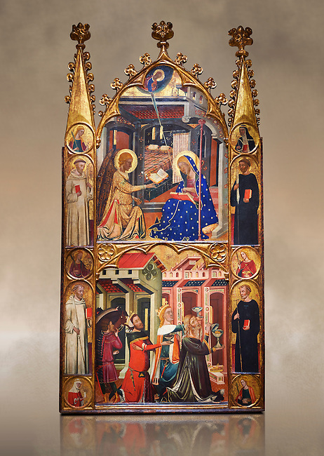 Gothic painted Panel Altarpiece of the Annunciation and Three Kings of the Epiphany by the Circle of Ferrer and Arnau Bassa. Tempera and gold leaf on wood. Circa 1347-1360. 282.9 x 151 x 11 cm. The origin of this panel has traditionally been associated with the collegiate church of Sant Vicenç de Cardona (Bages). National Museum of Catalan Art, Barcelona, Spain, inv no: 015855-000
