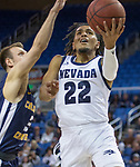 Nevada guard Jazz Johnson (22) shoots a lay-up against  Colorado Christian during the second half of an NCAA college basketball game in Reno, Nev., Wednesday, Oct. 30, 2019.