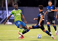 10th July 2020, Orlando, Florida, USA;  Seattle Sounders defender Gustav Svensson (4) During the MLS Is Back Tournament between the Seattle Sounders v San Jose Earthquakes on July 10, 2020 at the ESPN Wide World of Sports, Lake Buena Vista FL.