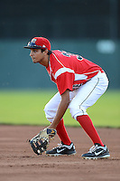 Batavia Muckdogs first baseman Carlos Lopez #36 during a game against the Mahoning Valley Scrappers on June 21, 2013 at Dwyer Stadium in Batavia, New York.  Batavia defeated Mahoning Valley 3-2.  (Mike Janes/Four Seam Images)