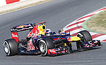 21.02.2012 Barcelona Spain. Formula One testind day1. Red Bull Racing with German driver Sebastian Vettel