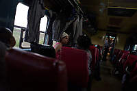 HAVANA, CUBA - APRIL 5:  Cuban police women talk during their trip from Havana to Santiago de Cuba, 24 hours trip in normal conditions on April 5, 2018.. in Cuba. Ferrocarriles de Cuba, is one of the oldest railroad around world, having opened its first route in 1837 with at least 17-mile long. Now the railway probably could cover more than 2,600 miles along the Island. (Photo by Eliana Aponte/VIEWpress)