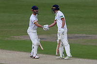James Foster of Essex congratulates Daniel Lawrence (R) on reaching his fifty during Worcestershire CCC vs Essex CCC, Specsavers County Championship Division 1 Cricket at New Road on 13th May 2018