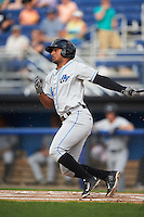 Hudson Valley Renegades center fielder Garrett Whitley (24) at bat during a game against the Batavia Muckdogs on July 31, 2016 at Dwyer Stadium in Batavia, New York.  Hudson Valley defeated Batavia 4-1.  (Mike Janes/Four Seam Images)