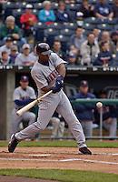 Minnesota Twins center fielder Torii Hunter bats against the Royals at Kauffman Stadium in Kansas City, Missouri on April 24, 2003. The Royals won 2-1.