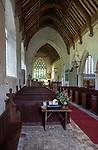 Interior of village parish church of Saint Andrew, Westhall, Suffolk, England, UK