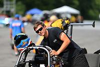 Jun 18, 2017; Bristol, TN, USA; NHRA top dragster driver Aaron Stanfield during the Thunder Valley Nationals at Bristol Dragway. Mandatory Credit: Mark J. Rebilas-USA TODAY Sports
