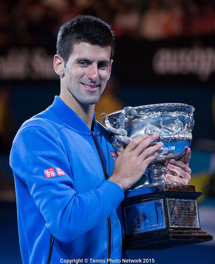 NOVAK DJOKOVIC (SRB)<br /> <br /> Tennis - Australian Open 2015 - Grand Slam -  Melbourne Park - Melbourne - Victoria - Australia  - 1 February 2015. <br /> &copy; AMN IMAGES