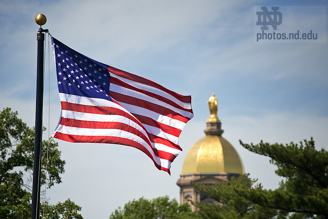 May 15, 2012; Flag on South Quad..Photo by Matt Cashore/University of Notre Dame