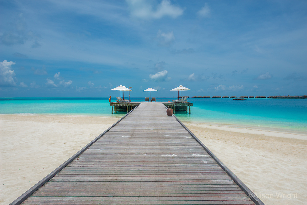 Maldives, Rangali Island. Conrad Hilton Resort. Boardwalk to the pool.