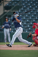 AZL Padres 2 center fielder Sean Guilbe (10) follows through on his swing during an Arizona League game against the AZL Angels at Tempe Diablo Stadium on July 18, 2018 in Tempe, Arizona. The AZL Padres 2 defeated the AZL Angels 8-1. (Zachary Lucy/Four Seam Images)
