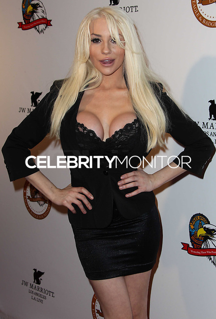 "LOS ANGELES, CA - NOVEMBER 16: Courtney Stodden wearing a Maggie Barry Haute Couture evening gown from the M8 Collection attends The Los Angeles Police Protective League Eagle & Badge Foundation's 12th Anniversary ""In The Line Of Duty"" Awards held at the JW Marriott Los Angeles at L.A. Live on November 16, 2013 in Los Angeles, California. (Photo by Xavier Collin/Celebrity Monitor)"