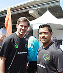 "The Bachelor's Ian McKee poses with All My Children's Mark Consuelos as they participate at the ""Kicking It"" at the Annual Tribeca/NYFEST Soccer Day Celebrity Exhibition on April 21, 2012 - NYFEST (which stands for New York Film and Entertainment Soccer Tournament) was designed to mesh the worlds of entertainment, soccer and New York City in conjunction with the Tribeca Film Festival. The day included a film and entertainment industry tournament with 44 teams with one winner the Grassrootsoccer team which Mark Consuelos played on was cofounded by Survivor winner Ethan Zohn. The all-day event took place at Pier 40 in Manhattan, and consisted of an industry tournament, a youth showcase, and a celebrity soccer tournament.  (Photo by Sue Coflin/Max Photos)"