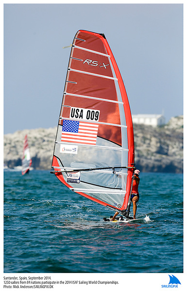 20140912, Santander, Spain: 2014 ISAF SAILING WORLD CHAMPIONSHIPS - More than 1,250 sailors in over 900 boats from 84 nations will compete at the Santander 2014 ISAF Sailing World Championships from 8-21 September 2014. The best sailing talent will be on show and as well as world titles being awarded across ten events 50% of Rio 2016 Olympic Sailing Competition places will be won based on results in Santander. Boat class and Sailor(s): RS:X Women - USA009 - Solvig SAYRE. Photo: Mick Anderson/SAILINGPIX.DK.